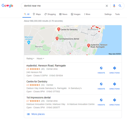Example Google Maps search result