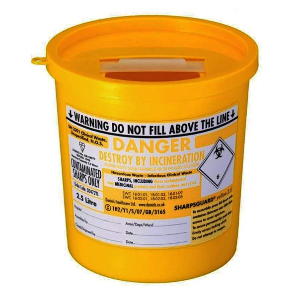 Daniels Sharpsguard Bin Yellow 2.5