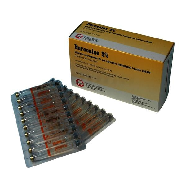 Eurocaine Lig 2% + Adrenaline 2.2ml 50pk