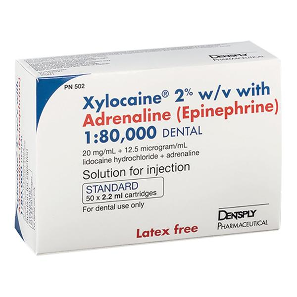 Xylocaine 2% With Adrenaline Standard 2.2ml 50pk